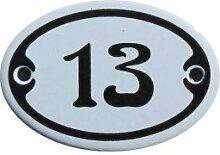 Nummer 13 mini Emaille Schild Jugendstil ca. 4,2 x