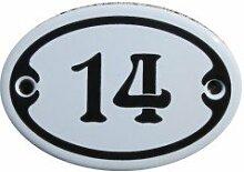 Nummer 14 Mini Emaille Schild Jugendstil ca. 4,2 x