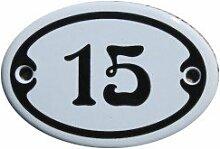 Nummer 15 mini Emaille Schild Jugendstil ca. 4,2 x