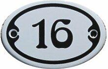 Nummer 16 mini Emaille Schild Jugendstil ca. 4,2 x