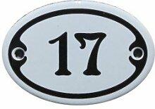 Nummer 17 mini Emaille Schild Jugendstil ca. 4,2 x 6,2 cm Türschild Zimmer Schublade Schrank Kommode Emailschild oval weiß
