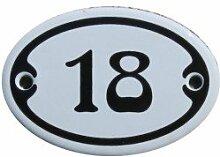 Nummer 18 mini Emaille Schild Jugendstil ca. 4,2 x