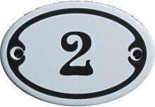 Nummer 2 Mini Emaille Schild Jugendstil ca. 4,2 x