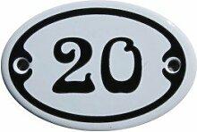 Nummer 20 mini Emaille Schild Jugendstil ca. 4,2 x