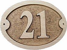Nummer 21Oval Eiche natur Holz House Tür Zahl