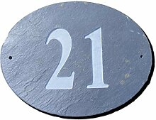 Nummer 21Oval Natur Grau Slate Haus Tür Nummer