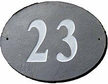 Nummer 23oval natur grau Slate Haus Tür Nummer