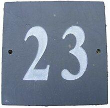 Nummer 23quadratisch natur grau Slate Haus Tür