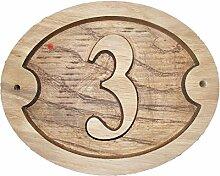 Nummer 3Oval Eiche natur Holz House Tür Zahl