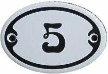 Nummer 5 mini Emaille Schild Jugendstil ca. 4,2 x