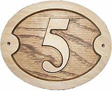 Nummer 5, oval, Eiche natur Holz House Tür Zahl