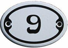 Nummer 9 mini Emaille Schild Jugendstil ca. 4,2 x