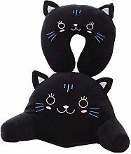 Nunubee 2 Stücke Niedlichen Tiere Karikatur Baumwolle Kissen U-förmigen Nackenkissen mit Lendenkissen, Schwarze Katze