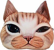 Nunubee 3D Digitaldruck Zierkissen Dekorative Katze Kopfkissen PP Baumwolle Sofakissen Autokissen Dekokissen Schaumstoff Gefüllt Spielzeug, Gelb