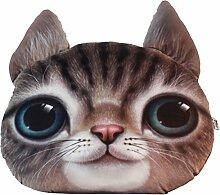 Nunubee 3D Digitaldruck Zierkissen Dekorative Katze Kopfkissen PP Baumwolle Sofakissen Autokissen Dekokissen Schaumstoff Gefüllt Spielzeug, Braun