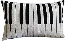 Nunubee Baumwolle und Leinen Kissenbezüge Rechteck Kissenbezug Dekorative Kissenhülle Dekokissen, 30*45cm/11.81*17.72inch,Klavier