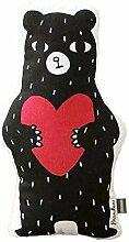 Nunubee Cartoon süße Spielzeug Kissen Baumwolle PP Baumwolle Sofa Büro Kissen Dekorative, schwarze Bär mit roten Liebe 48*28cm