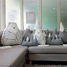 Nunubee Eisbär niedliche Spielzeugkissen Baumwolle PP Baumwollsofa Bürokissen dekorativ, 50*65cm