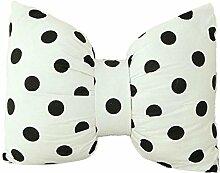 Nunubee Hochwertige Baumwolle PP Baumwolle Fliege Kissen Dekorative Kissen für Sofa Bett Autohaus Büro, weiße schwarze Flecken 45*35cm