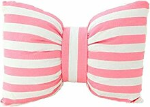 Nunubee Hochwertige Baumwolle PP Baumwolle Fliege Kissen Dekorative Kissen für Sofa Bett Autohaus Büro, rosa und weißen Streifen 45*35cm