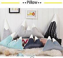 Nunubee Kissen Baby Samt mit Perle Baumwolle Schneeberg Form babyzimmer deko Sofa Dekorative kissen wohnzimmer, Schwarze Linien auf weiß 30x50cm