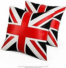Nunubee kissenbezug Britischer Wortflagge Leder-Stil industrial deko kissen deko wohnzimmer Autodekoration sofa cover, Schwarz(Mit Kissenkern) 45x45cm