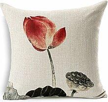 Nunubee kissenbezug Chinesischer alter Tuschemalerei Lotus Stil deko kissen deko wohnzimmer Autodekoration sofa cover, Stil 5 45x45cm