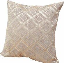 Nunubee Kissenbezug Pastoral Stil Grid cushion cover Sofa Büro Dekorativ, Weiß 45*45cm