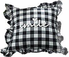 Nunubee kissenbezug Rüschen Garnstickerei Gitter-Stil industrial deko kissen deko wohnzimmer Autodekoration sofa cover, (Mit Kissenkern) Schwarz-Weiß 45x45cm