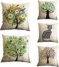 Nunubee Kissenbezug Spezial Stil Baum Blume cushion cover Sofa Büro Dekorativ 45*45cm Vielfalt Kombinationen