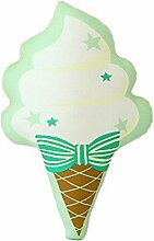 Nunubee Liebe fünfzackige Stern Bogen Eis Spielzeug Kissen PU Leinwand PP Baumwolle Sofa Büro dekorative, grüne Eis 30*28cm