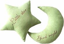 Nunubee Moon Stars niedlich Spielzeug Kissen Baumwolle PP Baumwolle Sofa Büro Kissen Dekorative, Green Moon 28*41cm