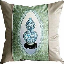Nunubee Orientalisch Traditionell Blauweißes Porzellan Kissenbezüge mit Kopfkissen Sofakissen Baumwolle Kissenhülle Dekokissen Kissenbezug, 45x45cm Modell 1
