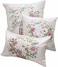 Nunubee Pastoralen Amerikanisch Stickerei Kissenbezüge mit Kopfkissen Blumenmuster Sofakissen Satin Kissenhülle Dekokissen Kissenbezug, 50x50cm Weiß