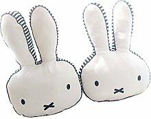 Nunubee Ribbit Kaninchen Spielzeug Kissen Kurzes Plüsch Baumwolle PP Baumwolle Sofa Büro Dekorativ, Weiß 40*27cm