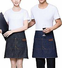 Nunubee Schürzen Denim Küchen Haushalt Grillschürzen Arbeitskleidung Heimtextilien, Schwarz 50*60cm