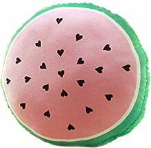 Nunubee Wassermelone Eis Sahne Spielzeug Kissen Plüsch Baumwolle Sofa Büro Kissen Dekorative, halbrunde Wassermelone 45*45cm