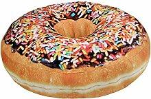 Nunubee Zierkissen Dekorative Donuts Kopfkissen PP Baumwolle Sofakissen Dekokissen Schaumstoff Gefüllt Spielzeug, Bunte Streusel Schoko