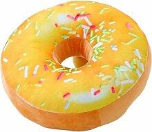 Nunubee Zierkissen Dekorative Donuts Kopfkissen PP Baumwolle Sofakissen Dekokissen Schaumstoff Gefüllt Spielzeug, Mango