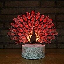 Nur 1 Artikel Pfau Nachtlicht Lampe 3D LED Lampe