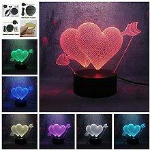 Nur 1 Stück Liebe 3D Pfeil durch das Herz LED