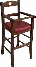 Nussbaum-Lederstuhl mit roter