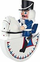 Nussknacker Figur Reiter Husar, weiß-blau von DREGENO SEIFFEN 27,5 cm – Original erzgebirgische Handarbeit, Weihnachts-Dekoration