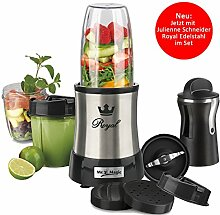 Nutrition Mixer Mr. Magic Royal 10-tlg. + GOURMETmaxx Julienne- & Spiralschneider in Schwarz-Edelstahl