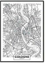 Nuwall Poster Bild Köln Karte 40 x 60 cm - Wand