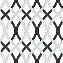NuWallpaper Gitter schälen und Stick Tapete, Schwarz/Silber