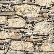 nuwallpaper Hadrian Stone Wall schälen und Stick Tapete, Vinyl, Braun