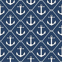 nuwallpaper nu1933Set Sail Anchor schälen und Stick Tapete–Navy Blau