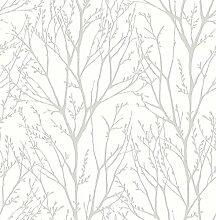 nuwallpaper nu2394Treetops schälen und Stick Tapete, Weiß/Creme