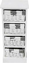 nxtbuy Schubladenregal aus Holz in Weiß - Vintage